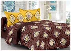 Valtellina Cotton Floral Double Size Bedsheet 104 TC ( 1 Bedsheet With 2 Pillow Covers , Brown )