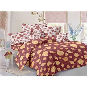 Valtellina Cotton Floral Double Size Bedsheet 104 TC ( 1 Bedsheet With 2 Pillow Covers , Red )