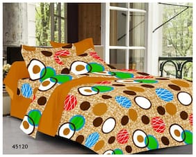 Valtellina Cotton Floral Double Size Bedsheet 104 TC ( 1 Bedsheet With 2 Pillow Covers , Multi )
