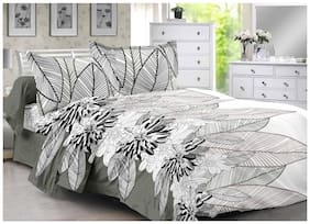 Valtellina Cotton Floral Double Size Bedsheet 104 TC ( 1 Bedsheet With 2 Pillow Covers , Grey )