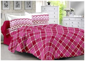 Valtellina Cotton Checkered Double Size Bedsheet 104 TC ( 1 Bedsheet With 2 Pillow Covers , Maroon )