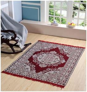 Valtellina Premium Maroon Designed Chenille Carpet (74 inch X 54 inch)