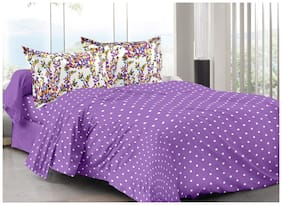 Valtellina Cotton Abstract Double Size Bedsheet 104 TC ( 1 Bedsheet With 2 Pillow Covers , Purple )