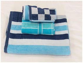 Valtellina striped design 1 Bath & 2Hand towels