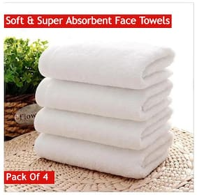 Valtellina 350 GSM Cotton Face towel ( 4 pieces , White )