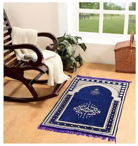 Valtellina velvet blue janamaz / prayer mat ( 46''x 27'' ) JNMZ-05