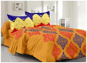 Valtellina Cotton Printed Double Size Bedsheet 104 TC ( 1 Bedsheet With 2 Pillow Covers , Yellow )