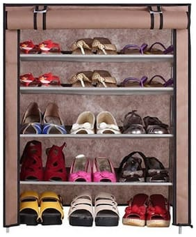 VALTIOR Plastic Shoe Rack ( Brown )