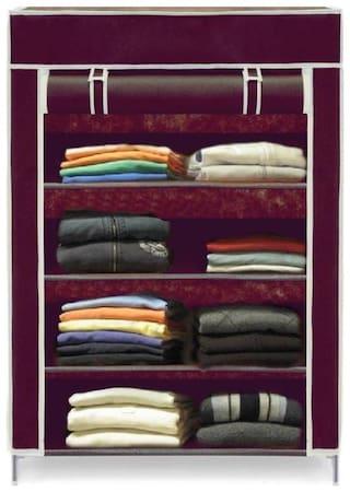 valtior 4 layer high bond plastic wardrobe ( maroon) 003