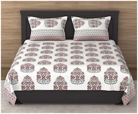 VARDE Cotton Abstract King Size Bedsheet ( 1 Bedsheet With 2 Pillow Covers , Multi )