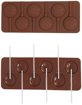 Vardhman Silicone Bakeware Lolipop Mould for Chocolate and Ice Cube 6 Cavity, Smiley Design with 6 Lollipop Sticks