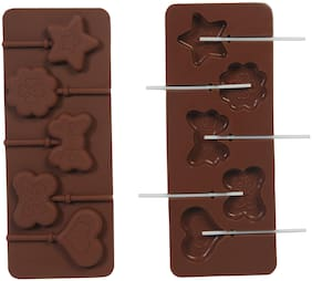 VardhmanSilicone Bakeware Lolipop Mould for Chocolate and Ice Cube 5 Cavity, Mix Design with 6 Lollipop Sticks