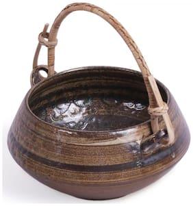 VarEesha Brown Ceramic Handi Serving Bowl with Cane Handle