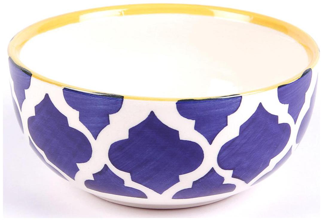 VarEesha Ceramic Blue Yellow Serving Bowls Set of Two