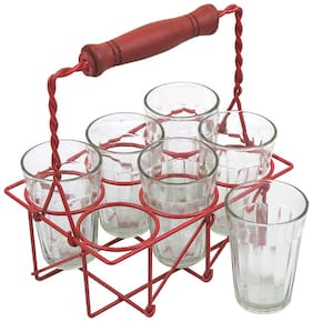 VarEesha 'Cutting Chai' Red Holder with Six Tea Glasses Set