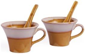 VarEesha Golden Mustard Soup Mugs/ Bowls Set of Two