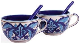 VarEesha Hand Painted Aqua Blue Ceramic Soup Set