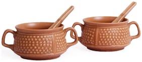 VarEesha Mud Brown Ceramic Soup Bowls with Spoons Set