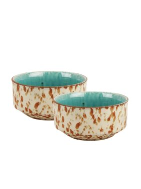 VarEesha Peacock Green Hand Painted Mosaic Ceramic Soup Bowls