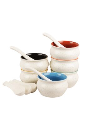 VarEesha White Matt with Multicolored Ceramic Soup Bowls Set of Six
