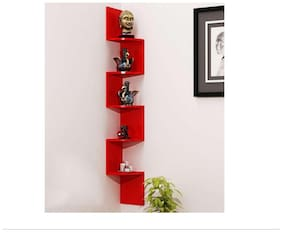 VAS Collection Home Red Wooden Corner Wall Shelf
