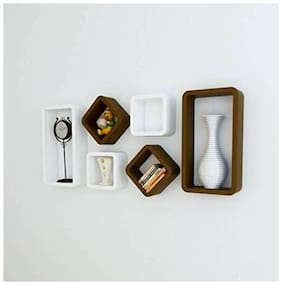 VAS Collection Home Cube Shape Floating MDF Wall Shelf  (Number of Shelves - 6, Brown, White)