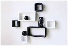 VAS Collection Home  Cube Shape Floating MDF Wall Shelf  (Number of Shelves - 6, Black, white)