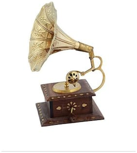 VAS Collection Home Wooden Brown Gramophone ( Set of 1 )