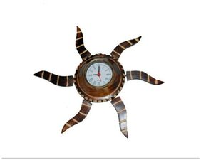 VAS Collection Home Analog Wall Clock  (Brown, With Glass)
