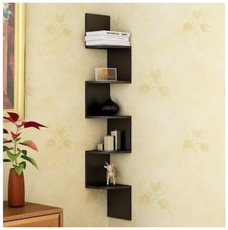 VAS Collection Home  Zigzag Shape Corner Wooden Wall Shelf  (Number of Shelves - 5, Black)