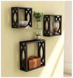 VAS Collection Home handicraft design Wooden Wall Shelf  (Number of Shelves - 3, Black)