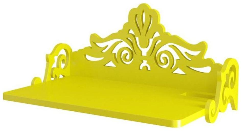 VAS Collection Home Carved Set Top Box Holder Wooden Wall Shelf   Number of Shelves   1, Yellow