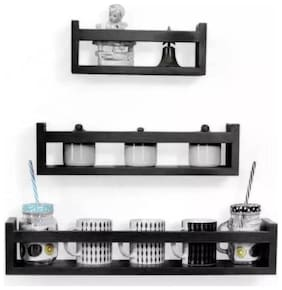 VAS Collection Home wall Decor Multipurpose MDF Wall Shelf  (Number of Shelves - 3, Black)