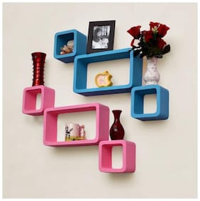 VAS Collection Home Cube Shape Floating MDF Wall Shelf  (Number of Shelves - 6, Pink, Blue)