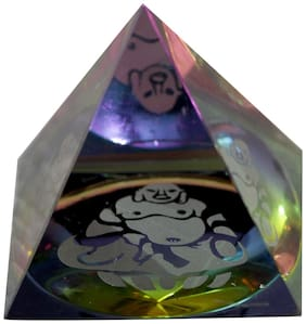 Vastu Art Vastu / Feng Shui / Crystal Pyramid Laughing Buddha inside For Positive Energy & Good Luck