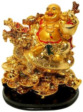 Vastu Art Vastu / Feng Shui / Laughing Buddha Sitting on Dragon Tortoise For Happiness;Wealth & Goodluck