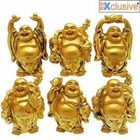 Vastu Feng Shui Golden Set of 6 Laughing Buddha - Golden