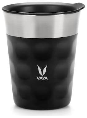 Vaya Popcup 250 ml (1 x 250 ml) Black - Vacuum Insulated Thermos Glass Tumbler with Lid, Color: Black