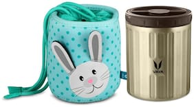 Vaya Preserve Kids LunchKit - 500 ml (1 x 500 ml) Graphite Vacuum Insulated Stainless Steel Meal Container with Bunny Theme Lunch Bag, Salad Box, Portable Tiffin Box, Color - Graphite