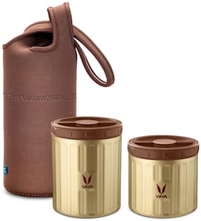 Vaya Preserve LunchKit - 800 ml (1 x 300 ml + 1 x 500 ml) Gold Vacuum Insulated Stainless Steel Meal Container with Brown Lunch Bag, Meal Carrier, Salad Box, Set of 2, Color - Gold