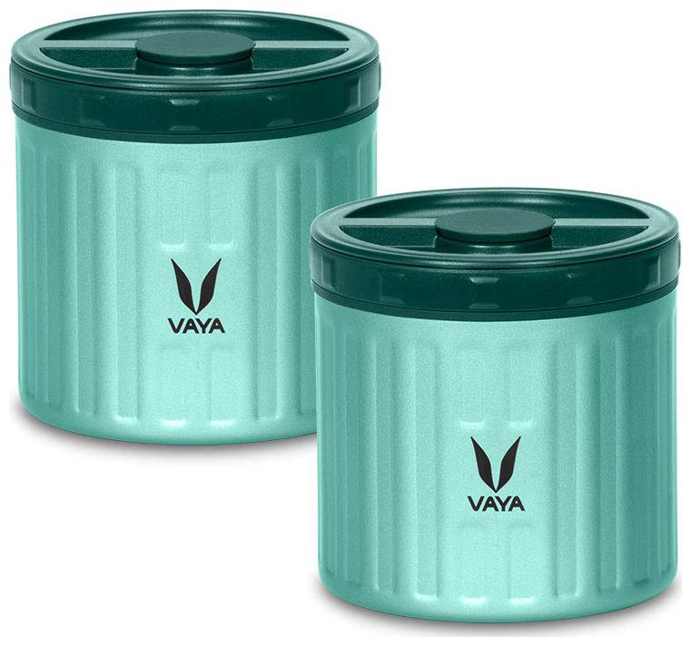 Vaya Preserve 600 ml Green   Vacuum Insulated Stainless Steel Meal Container | Meal Jar | Portable Lunch Box | 2 x 300 ml | 2 Containers Lunch Box