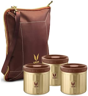 Vaya Preserve 900 ml Golden Vacuum Insulated Stainless Steel Food Container with BagMat || Portable Mini Casseroles || Storage Canisters || 3 x 300 ml || 3 Containers