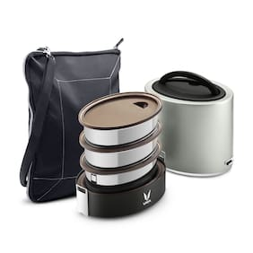 Vaya Tyffyn Polished Stainless Steel Lunch Box with Bagmat, 1000 ml, 3 Containers, Silver