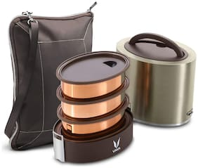Vaya Tyffyn 1000ml Graphite Lunch Box with BagMat - Copper-finished Stainless Steel 3-Container Tiffin Box