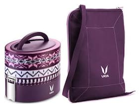 Vaya Tyffyn 600ml Wool Lunch Box with BagMat - Copper-finished Stainless Steel 2-Container Tiffin Box