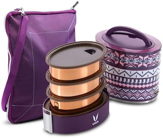 Vaya Tyffyn 1000ml Wool Lunch Box with BagMat - Copper-finished Stainless Steel 3-Container Tiffin Box