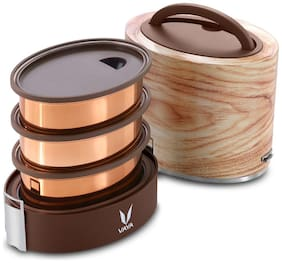 Vaya Tyffyn 1000ml Maple Lunch Box without BagMat - Copper-finished Stainless Steel 3-Container Tiffin Box