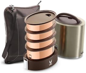 Vaya Tyffyn Jumbo Copper-Finished Stainless Steel Lunch Box with Bagmat, 1300 ml, 4 Containers, Graphite