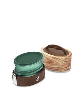 Vaya 2 Container Stainless Steel Lunch Box Set of 1 ( Brown ,  600 ml )