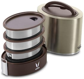 Vaya 3 Container Stainless Steel Lunch Box Set of 1 ( Brown ,  1000 ml )
